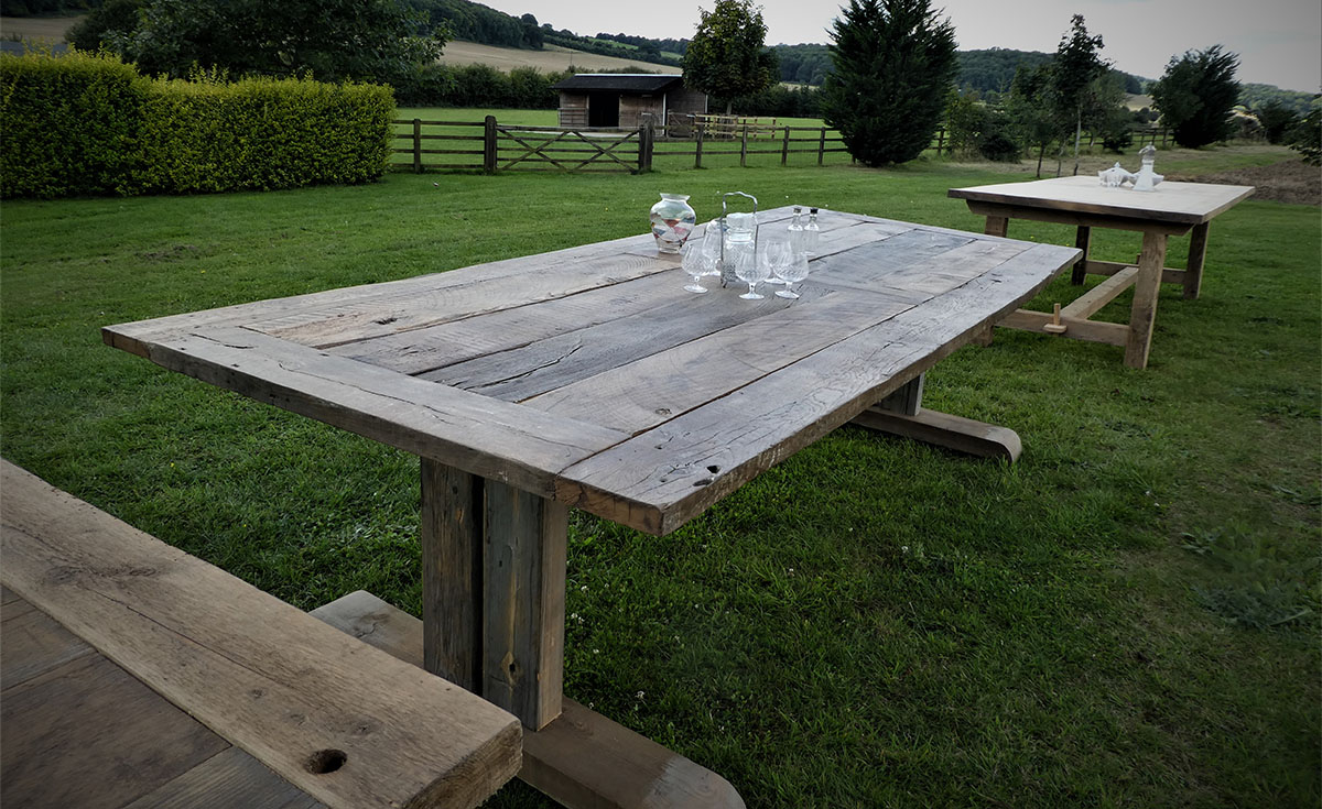 Bespoke Solid Wood Table crafted from Rustic Reclaimed Oak with Paint-Washed Pine Legs